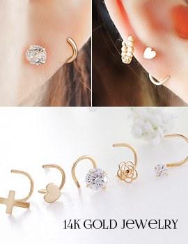 1043758 - <ER820-GJ15> [每人出售] [14K金]压延海报耳环