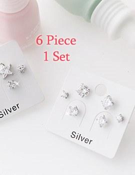 227260 - <SL433-GK18/19> [银色] Cube 6piece耳环