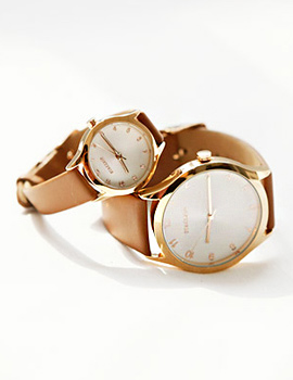 228190 - <WC047-BD10>平圆皮革手表