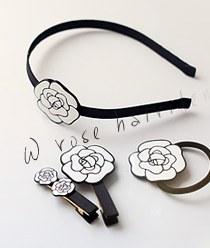 236488 - <HA248-FA09> [乐团,针,马尾巴]白玫瑰发饰