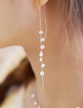887154 - <ER670-S> [当天发货] [银色]水晶无钮女短上衣耳环