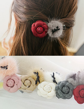 1043738 - <HA401-h8>玫瑰貂皮发夹