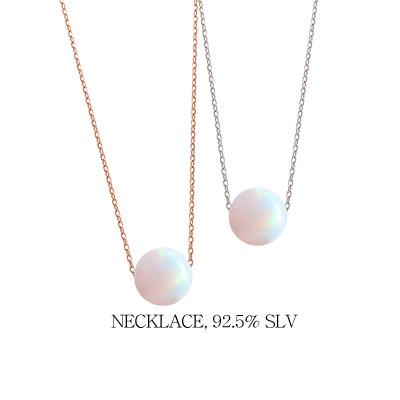 1043968 - <NE265-BA18> [银色]蛋白石阴影项链