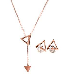 1044543 - <JS206_IE05> [耳环+项链] [不锈钢]雷纳三角系列
