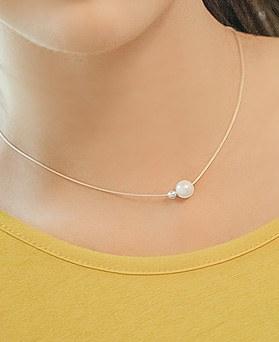 1044884 - <NE346_BD08> [银色]珍珠减肥项链