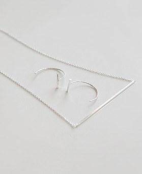 1045026 - <JS232_BD08> [项链+耳环] [银色]针织棒集