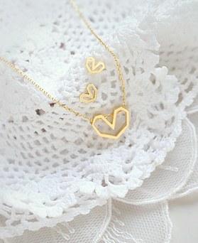 1045227 - <JS239_IH06> [项链+耳环] [银色]柔丝爱心集