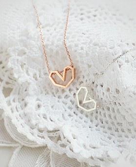 1045228 - <NE383_IH06> [当天发货] [银色]柔丝爱心项链