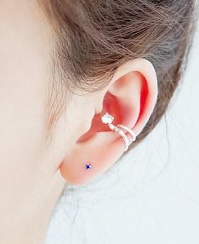 1045685 - <ER1336_CA12> [银色]立方体泰迪耳环