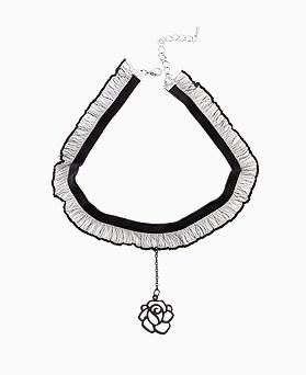 1045730 - <NE420_IC03>玫瑰蕾丝短项链项链