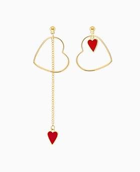 1045752 - <ER1340_CE08> [当天发货] [银针]不平衡红色爱心耳环