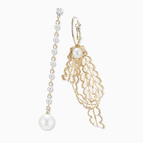 1045788 - <ER1355_CC19> [当天发货]不平等珍珠安蕾丝耳环环