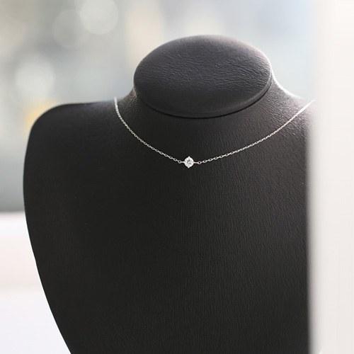 1045803 - <NE426_BB03> [银色] 4毫米立方体短项链项链项链