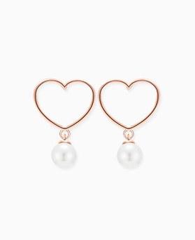 1045820 - <SL452-BE06> [银色]小爱心珍珠耳环