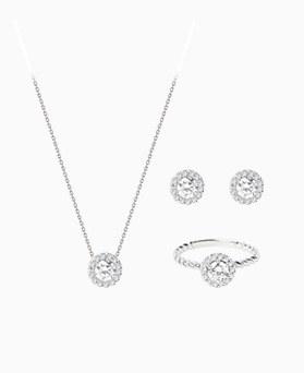 1046770 - <JS62_BE06> [耳环+项链+戒指] [银色]琥珀系列