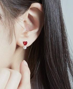 1046868 - <JS300_BE06> [银色] Shabie爱心耳环环