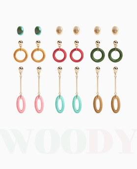 1046942 - <ER1672_CG12> [6个1集] Woody圆耳环