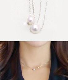8062 - <SL413A-BE01> [婚姻女神宋智慧] [银色]雪果珍珠项链