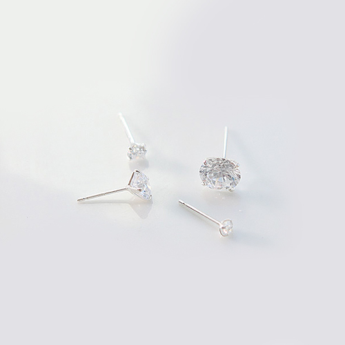 1977 - <SL341-BD06> [当日发货] [销售] [银色]立方体耳环
