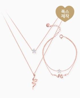 1046322 - <JS34_BE00> [当天发货] [项链+镯子] [银色]蛇Ann立方体集