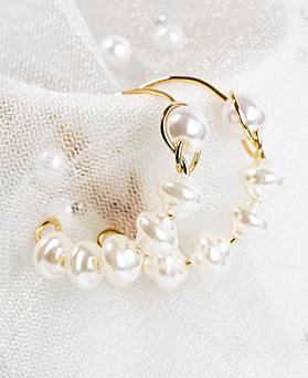 1048270 - <ER2048_DB26> [手工制作]纯珍珠环耳环