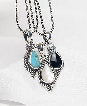1048325 - <NE557_BB03> [银色]古董宝石项链