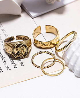1048578 - <RI858_JB24> [5个1集]古董女王环
