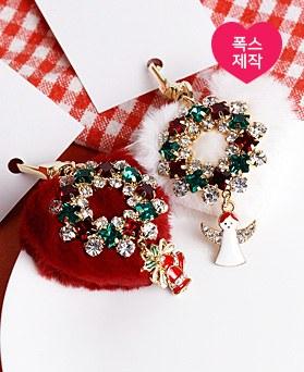 1049117 - <AP0496> [手工制作]圣诞节爱心毛皮草钥匙圈