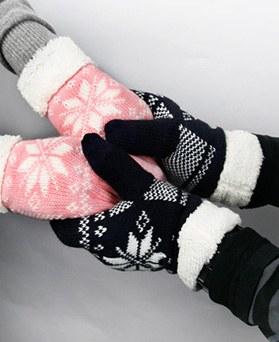 1049248 - 羊毛冬雪花儿触摸手套