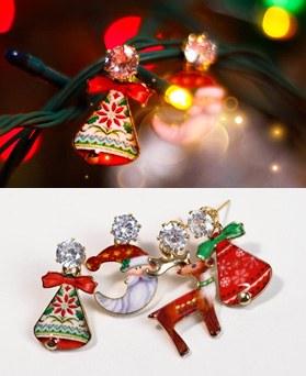 1049296 - <ER2179_DD07> [夹子耳环]圣诞钟声不平衡圣诞