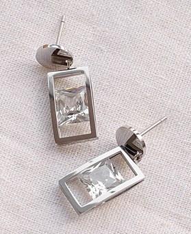 1049493 - <ER2184_DG26> [夹式耳环] [不锈钢]方方水晶耳环