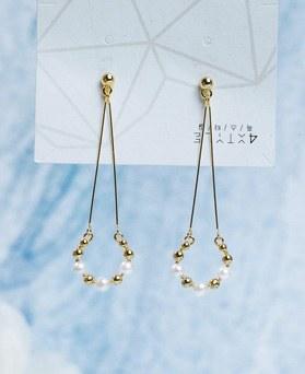 1049494 - <ER2189_DG30> [夹子耳环]圆珍珠降耳环