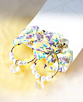 1049592 - <ER2231_GK06>珍珠Ann floral蝴蝶结耳环