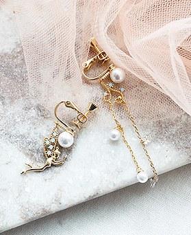 1050217 - <ER2263_DK09> [夹式耳环]仙女不平衡夹式耳环